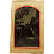 1/6 Plate Occupational Tintype Carpenter & Dog