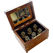 19th C Anglo Indian Scent Caddy 6 Bottles