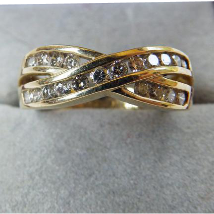 Vintage 10K & Diamonds Crossover Style Band Ring