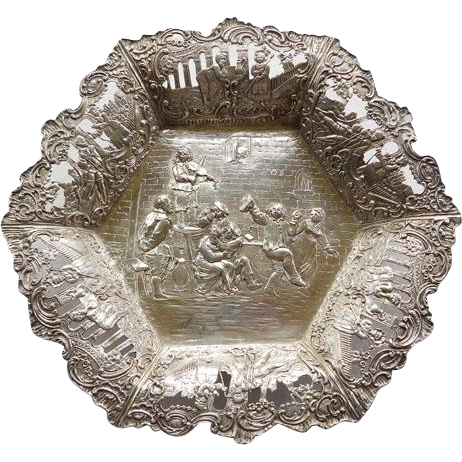 Continental Footed 800+ Silver Bowl With Tavern Scene
