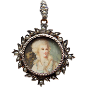 Antique Portrait Miniature 10K With Natural Seed Pearls