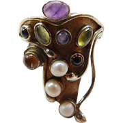 Sterling Vermeil Modernist Ring With Gemstones