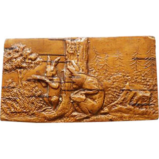 19th C Carved Wooden Snuff Box Rabbits