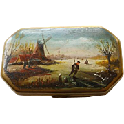 Antique Dutch Tobacco/Snuff Box Hand Painted Scene