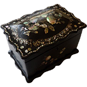 Antique English Papier Mache Tea Caddy With Mother of Pearl