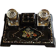 English Papier Mache Double Inkstand MOP Inlay