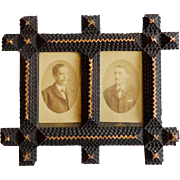 Tramp Art/Folk Art Double Picture Frame