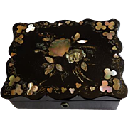 English Papier Mache Box With Mother of Pearl Inlay