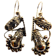 Victorian Gold Filled Leaf Design Earrings