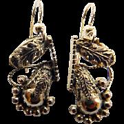 Victorian Gold Filled Leaf Design Earrings