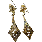 Victorian Filigree Gold Filled Dangle Earrings