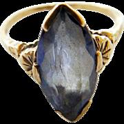 10K Art Deco Blue Spinel Ring