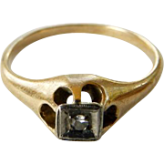 Hallmarked 14K & Diamond Child's or Pinky Ring Size 4 1/2