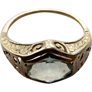 14K Art Deco Aquamarine White Gold Ring
