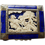 Vintage Italian 800 Silver & Enamel Compact with carved Chariot Scene