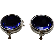 English 18th Century Pair Sterling Salts With Cobalt Liners -  Robert Hennell I