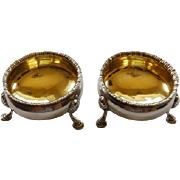 Pair Hester Bateman Sterling Salts 18th Century England