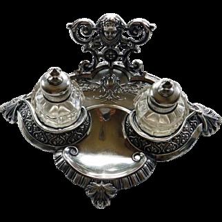 Antique 800 Silver Inkstand With Cherub