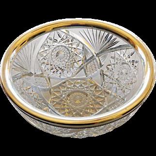 Sterling Rim Cut Glass Brilliant Period Bowl