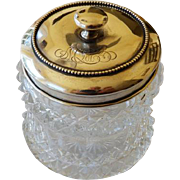 Cut Glass Dresser Jar With Sterling Lid