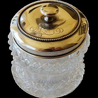 Cut Glass Dresser Jar With Sterling Lid