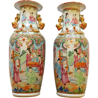 Pair 18th/19th Century Rose Medallion Vases