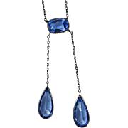 Art Deco Sterling Blue Glass Lingerie Necklace