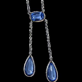 Art Deco Sterling Blue Glass Lingerie Necklace