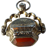 Victorian GF Spinner Fob With Carnelian