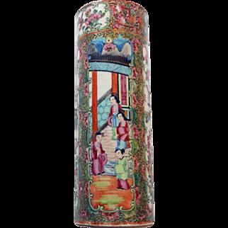 Antique Rose Medallion Famille Rose Chinese Export Cylinder Vase
