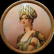 Miniature Portrait Signed T.Leroy Enamel On Copper 19th Century