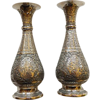 Pair Persian 800+ Silver Bud Vases