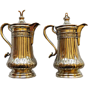 Pair Sterling Silver 19th Century Covered Pitchers