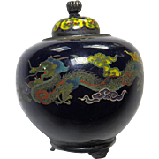 19thC Japanese Cloisonne Covered Jar - Artist Signed