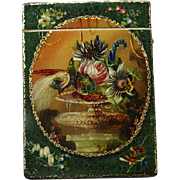 English Victorian Papier Mache Calling Card Case -  Hand Painted