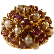 Vintage 18K YG Ruby & Cultured Pearl Cocktail Ring