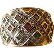 Vintage 14K YG Gemstone Ring Band Style