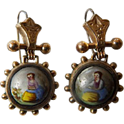 Victorian 9K YG Hand Painted Earrings