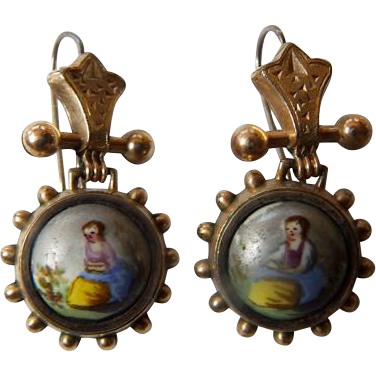 Victorian 9K YG Hand Painted Earrings
