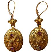 Victorian Gilt Metal Earrings With Red Paste