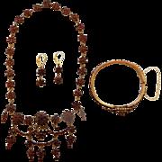 19thC Bohemian Garnet 3 Piece Parure