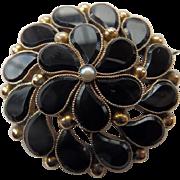 Victorian 10K YG & Black Onyx Pendant/Brooch