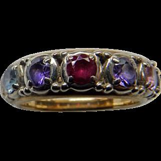 Vintage 14K Yg Multi Gemstone Ring