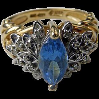 Vintage 10K YG Blue Topaz & Diamond Ring