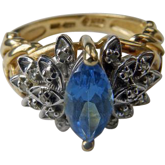 Vintage 10K YG Blue Topaz & Diamond Ring