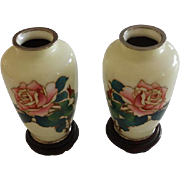 Pair Japanese Cloissone Vases With Stands