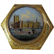Bronze Paperweight With Eglomise View of The Thames