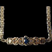 Vintage 14K YG Bracelet With Sapphire & Diamonds