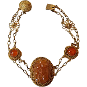 Vintage Chinese Carved Carnelian Bracelet In Gold Tone Setting