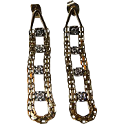 Vintage 14k YG & WG Diamond  Earrings